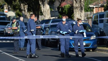 Police at the scene of a drive-by shooting in Thomastown on Tuesday.