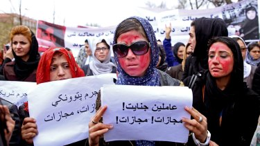Afghan women demand justice for the  woman who was beaten and burned to death after being falsely accused of burning a Koran.