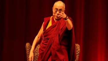 Humour and compassion: The Dalai Lama at the Sydney Entertainment Centre on Sunday.