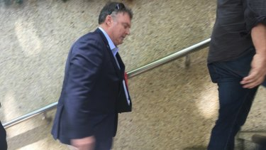 Senator Rodney Culleton heads in to Federal Court in Perth last month.
