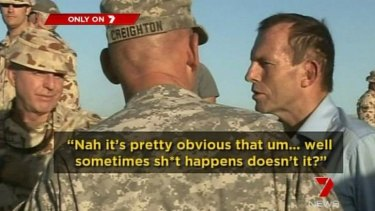 Sh*t happens: Tony Abbott puts his foot in his mouth while talking to Australian soldiers.
