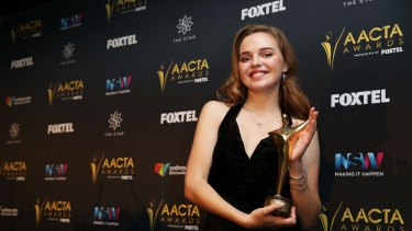 Odessa Young poses in the media room after winning the AACTA Award for Best Lead Actress for The Daughter.