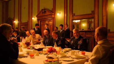 General John Campbell (second from right), commander of the international Resolute Support mission and US forces in Afghanistan, chief executive of Afghanistan Dr Abdullah Abdullah (far left) and President Ashraf Ghani (right) before dinner at the Presidential Palace, in Kabul, in the general's honour, before leaving his post in Afghanistan and retiring from the army on February 25, 2016.