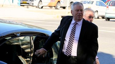 Former HSU boss Michael Williamson arrives at Maroubra police station at 8am today.