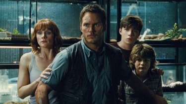 Bryce Dallas Howard, Chris Pratt, Nick Robinson and Ty Simpkins star in ><i>Jurassic World</i>.