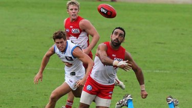 Adam Goodes stays focused at Blacktown yesterday.