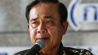 Thai Army chief General Prayuth Chan-ocha speaks during a news conference at The Army Club after the army declared martial law nationwide to restore order.