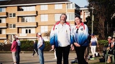 Waverley Bowling Club's president Patrick Fitzsimons and Sharon Mcfee.