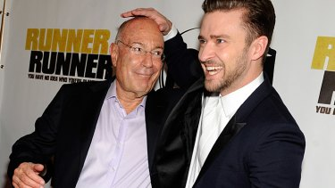 Spying days are over ... Arnon Milchan (left) is responsible for countless big Hollywood movies, including <i>Runner Runner</i> starring Justin Timberlake (right).