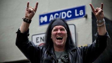 Back in black: Dave Evans at Melbourne's AC/DC Lane.