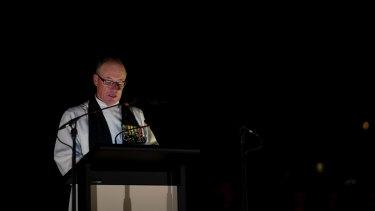 Senior Chaplain Barrie Yesberg gives the dawn service address on 25 April 2013.