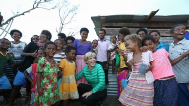 Minister for Foreign Affairs Julie Bishop meets with locals during her visit to Koro Island during her visit bringing Australian Aid to Fiji after it was affected by Tropical Cyclone Winston.