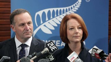 Bus gaffe ... Julia Gillard with New Zealand Prime Minister John Key at the opening of the annual Pacific Islands Forum in Auckland on September 7.