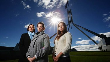 Bright hope for tomorrow: Sarah Bourke, Elise Wall and Jo Brock during their visit for the Straight Talk National Summit at Parliament House in Canberra.