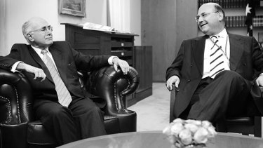 Providing advice: Then Prime Minister John Howard with his chief of staff Arthur Sinodinos.