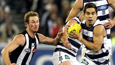 Geelong's Mathew Stokes was impressive playing on Ben Johnson when the Cats lost to Collingwood in round 19.