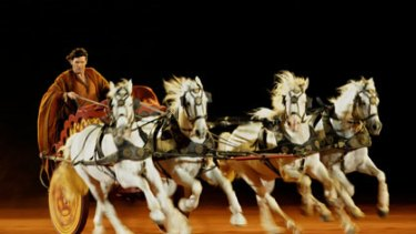 High-speed action ... the chariot race has a whiff of risk to it.
