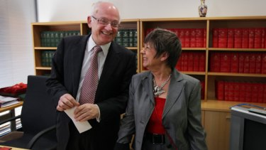 Served ''with distinction'' ...the member for Fraser, Bob McMullan with his wife, Robin Joyce, at his office in Canberra yesterday.