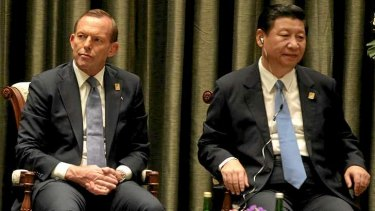 Prime Minister Tony Abbott and Chinese President Xi Jinping during the ABAC dialogue in Bali, Indonesia.