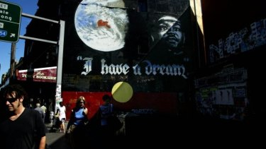 Heritage listed: The I Have A Dream mural on King Street, Newtown.