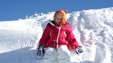 Getting the drift of things: Tahlia Rhodes, 6, of Ferntree Gully, enjoys the opening weekend at Mount Hotham.