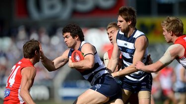 Miserly: Matthew Scarlett was at his ominous best against the Swans last week.