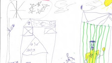 Disturbing: Pictures drawn by children in detention show the deep trauma many of them have suffered.