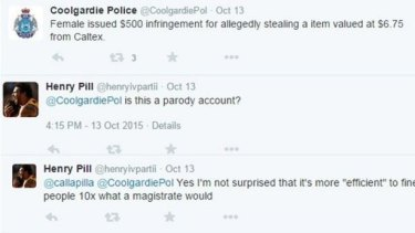 Tweet from the Coolgardie police, WA, after a woman was issued with a $500 fine for stealing a $6.75 packet of tampons.