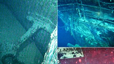 The first footage of the wreck of the WWII hospital ship the Centaur includes shell holes in the bow (left), the ship's bow (top right) and a red cross symbol on the port side bow (bottom right).