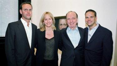 James Murdoch, Elisabeth Murdoch, Rupert Murdoch and Lachlan Murdoch