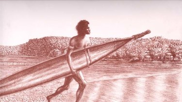 The early surf ski? ... an artwork set at Fairy Bower from Saltwater People of the Broken Bays.