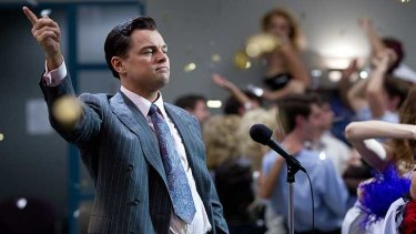 Leonardo DiCaprio as Jordan Belfort in The Wolf of Wall Street... from the American dream to greed untold.