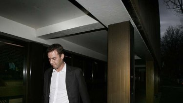 Shawn Richard, former director of Trio Capital, leaves Darlinghurst court house during a liquidation examination.