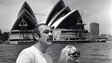 Diane Cilento, pictured with one-time husband Sean Connery and their son Jason during a cruise on Sydney Harbour.