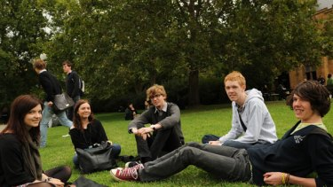 Students Alexandra, Emily, Huw, Matt and Lachlan on Melbourne University's south lawn yesterday.