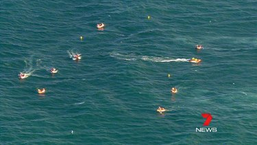The search at Kurrawa Beach for Matt Barclay yesterday.