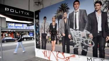 That's not Kewell ... Grafitti covers the facade of men's fashion chain Politix.