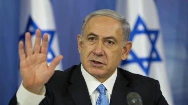 Israeli Prime Minister Benjamin Netanyahu speaks to the media during a press conference in Tel Aviv on Saturday.