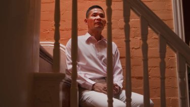 """Stairway to hell … Leung in 2012, on the """"treacherous"""" stairs of the house he shared with Mario Guzzetti."""