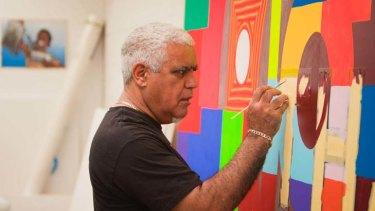 Artist Richard Bell in his Brisbane studio.