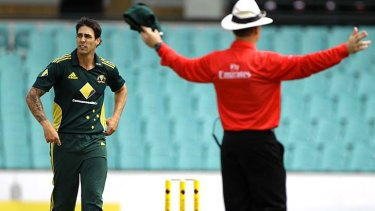 Australian bowler Mitchell Johnson has been known to expand the boundaries of what is commonly accepted as a 'legal' delivery.