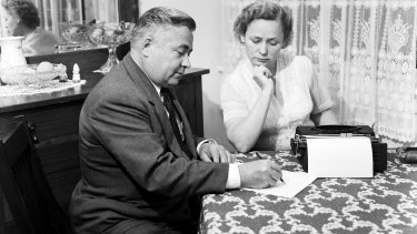 Russian diplomat Vladimir Petrov and wife Mrs Evdokia Petrov. The pair defected in 1954.