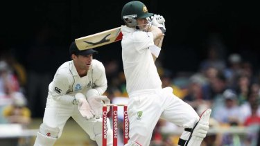 Leading by example … Michael Clarke hits out against New Zealand yesterday.