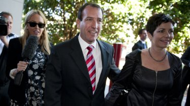 Mal Brough arrives at Caloundra RSL with his wife Sue.