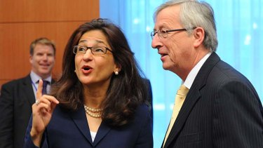 IMF's Nemat Shafik with Luxembourg Prime Minister and Eurogroup president Jean-Claude Juncker.
