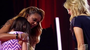 Romy, 12, being comforted by Mel B and Delta Goodrem on <i>The Voice Kids</i>.