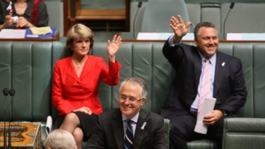Malcolm Turnbull as opposition leader in 2009, with then deputy opposition leader Julie Bishop and shadow treasurer joe Hockey behind him.