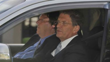 Ted Ballieu arrives at Government House yesterday.
