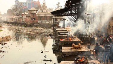 Place of pyres: The stone funeral platforms at the riverside temple of Pashupatinath, where the ritualised cremation of Hindus is carried out.