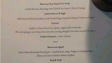 Part of the menu at the Liberal Party function.
